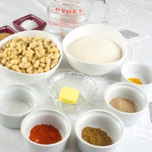 Sweet and Spicy Nuts Ingredients gathered