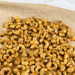 Sweet and Spicy Nuts Spread the nuts evenly on a tray and bake