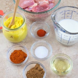 Easy Butter Chicken (MuEasy Butter Chicken (Murgh Makhani) Marinade ingredients gathered .