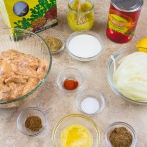 Easy Butter Chicken (Murgh Makhani) Masala ingredients gathered.