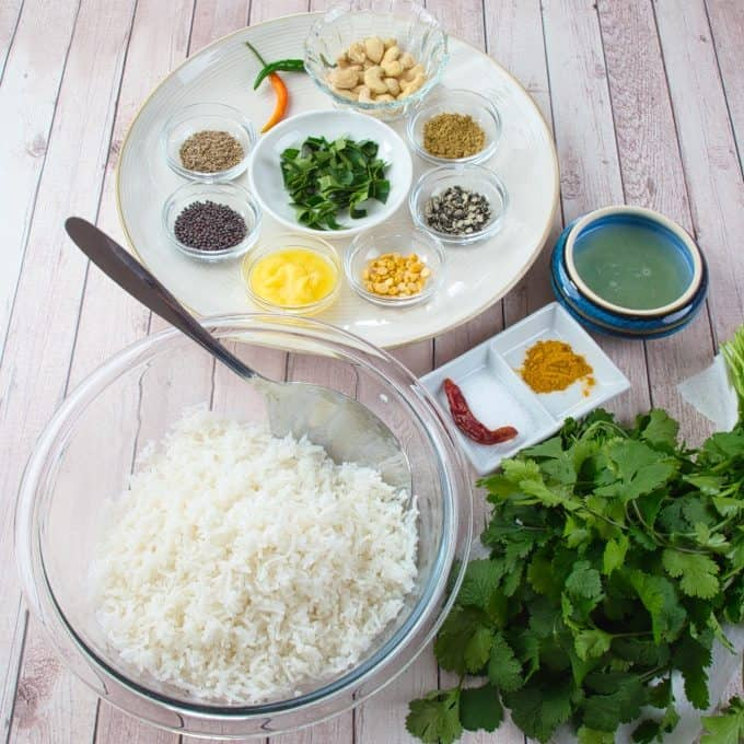 ndian Lemon Rice (Chitranna) ingredients gathered and ready to marry