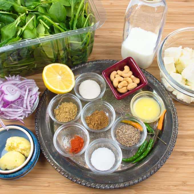 Palak Paneer ~ Homemade & Healthy All the ingredients gathered for cooking.