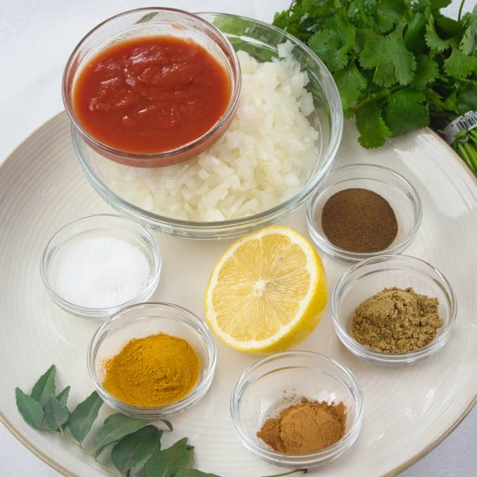 Weeknight Beef Keema Curry ingredients gathered