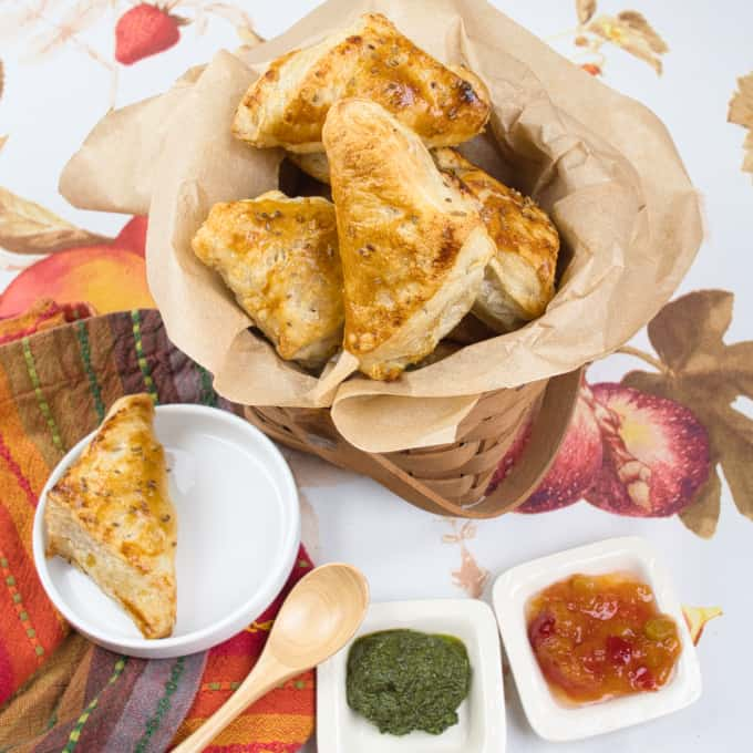 Flaky Puff Pastry Samosas Served up with two chutneys