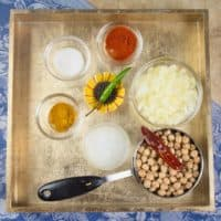 Comforting Coconut C - chickpeas gathered with all their cooking flavoring ingredients.