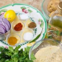 Potato Pakora Ingredients gathered.