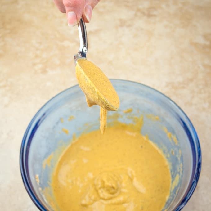 Potato Pakora The besan batter ready to batter.