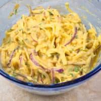 Potato Pakora Potato and onion shredded and in a besan batter.