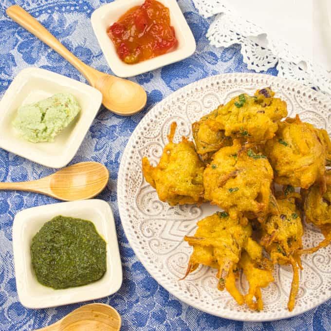 Potato Pakora Served with three chutneys on the side.