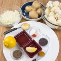Cauliflower Potato Curry (Aloo Gobi) Ingrediants gathered.