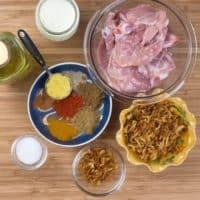 Easy, Enticing Chicken Biryani - Ingredients gathered for the chicken marination.