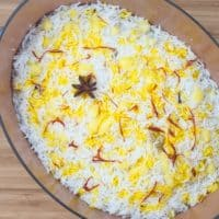 Easy, Enticing Chicken Biryani - The rice garnished with saffron and ghee. Ready for the final cook.
