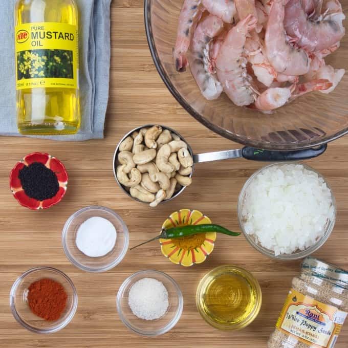 Bengali Prawn Curry (Chringri Posto) - All the ingredients gathered.
