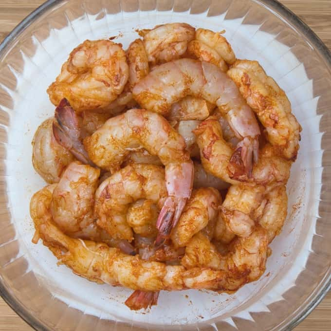 Bengali Prawn Curry (Chringri Posto) - The large shrimp cleaned and ready to be cooked.