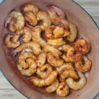 Bengali Prawn Curry (Chringri Posto) The shrimp finished cooking in a large dutch oven.