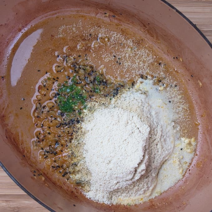 Bengali Prawn Curry (Chringri Posto) The aromatics cooked and the coconut ready to be stirred in.