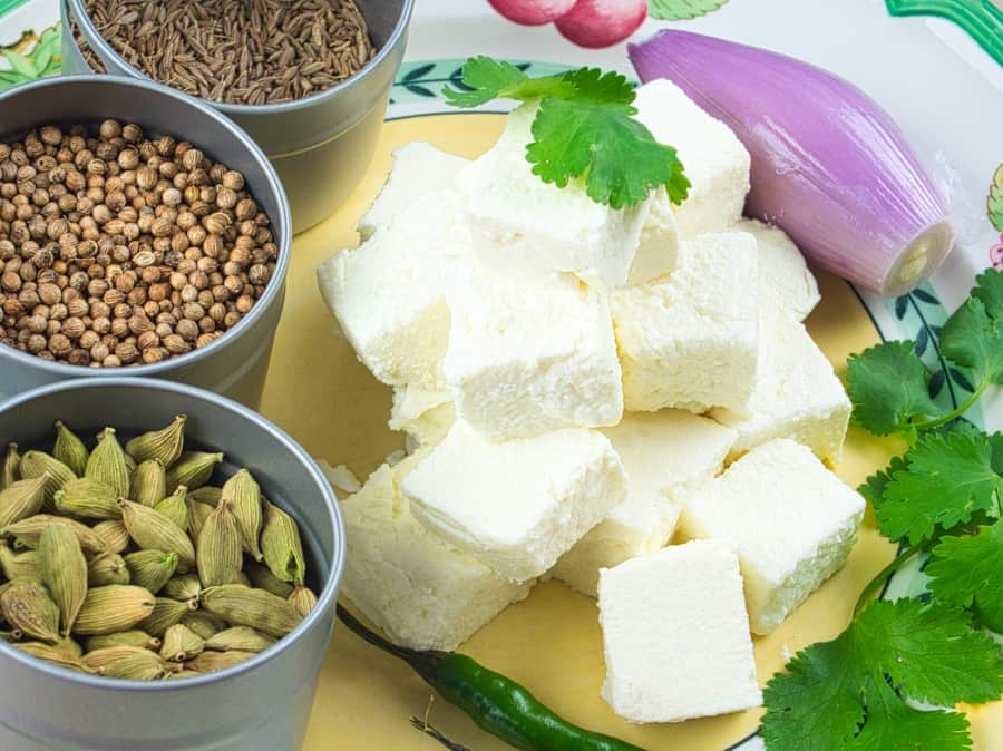 How to Make Paneer - Finished cheese cut into cubes in a piles beside whole spice and a flurry of cilantro.