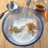 Cardamom Spice Cookies (Indianish) Mixing together all the dry ingredients.