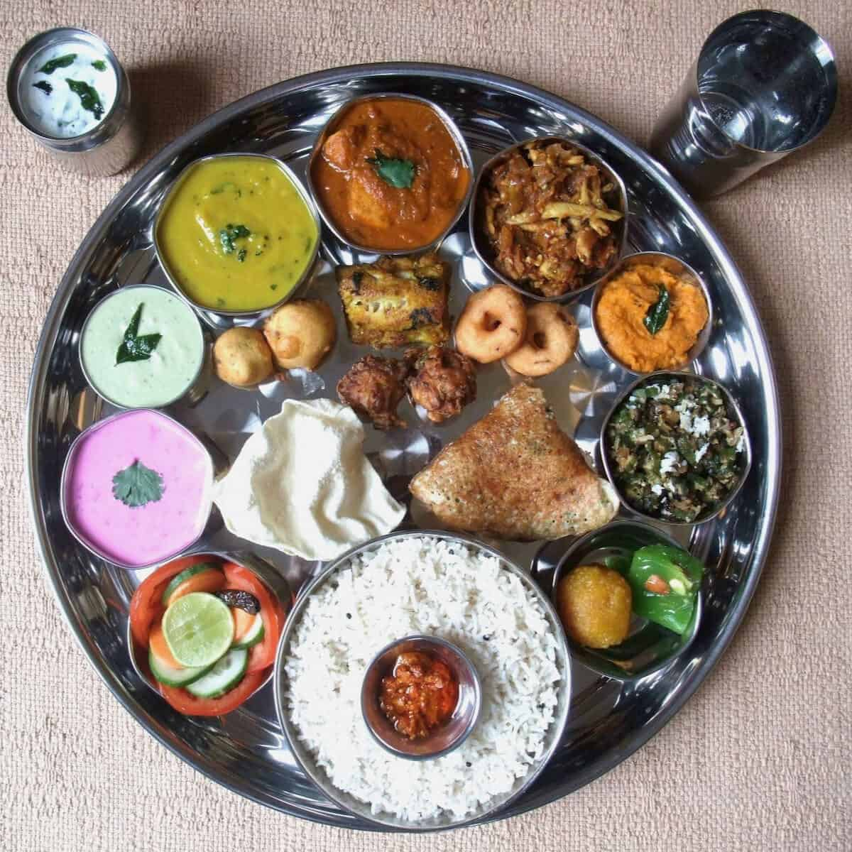 An Indian thali meal ~ a typical Indan meal.