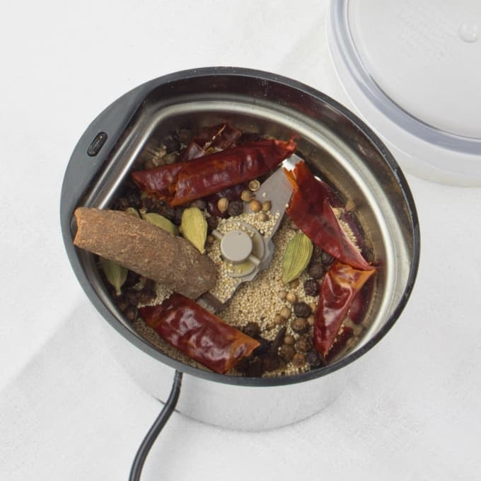 Goan Pork Vindaloo Spices in the coffee grinder used for spices.