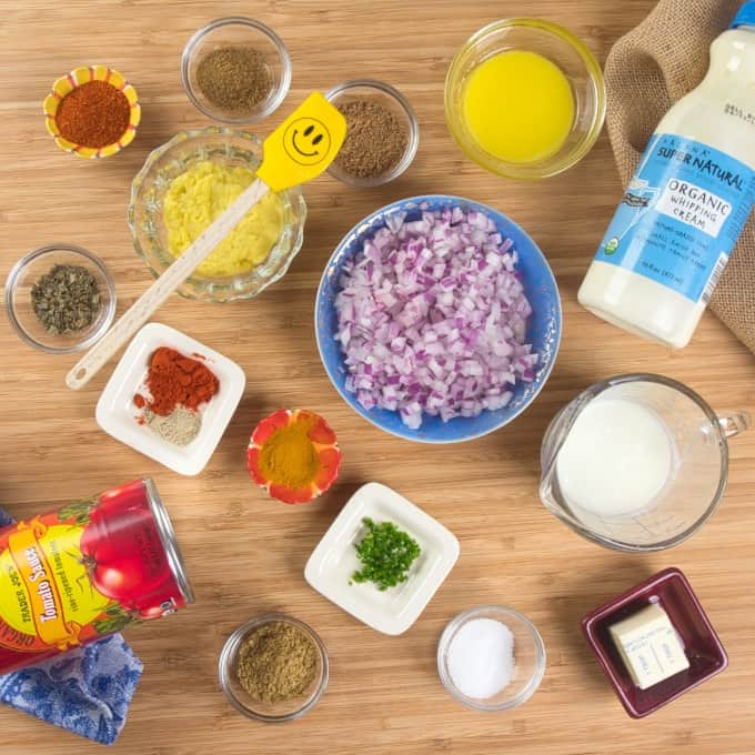 Chicken Tikka Masala sauce ingredients gathered and ready for cooking