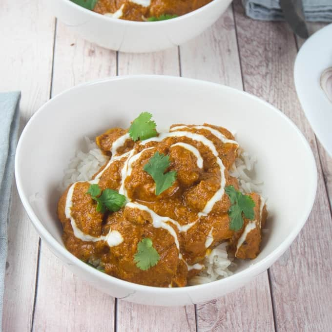 Chicken Tikka Masala all served up with rice and naan.