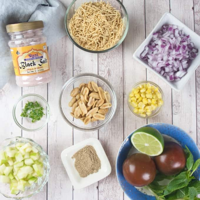 Chaat Recipe with Goldfish ingredients gathered.