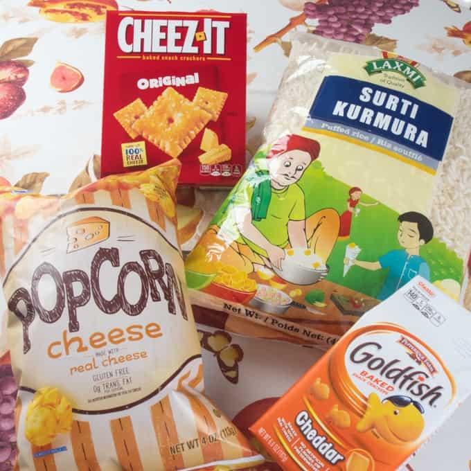 Goldfish Chaat Ingredients - Cracker and pocorn ideas.