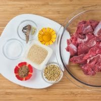 Coconut Lamb Curry (Madras Curry) with all the ingredients for the marination of the lamb
