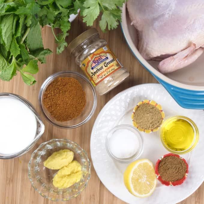 Easy Roast Tandoori Chicken Marinade ingredients gathered.