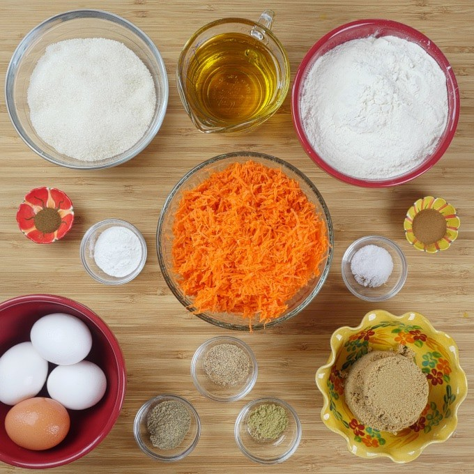 Indianish Carrot Cupcakes Recipe ~ All ingredients gathered.