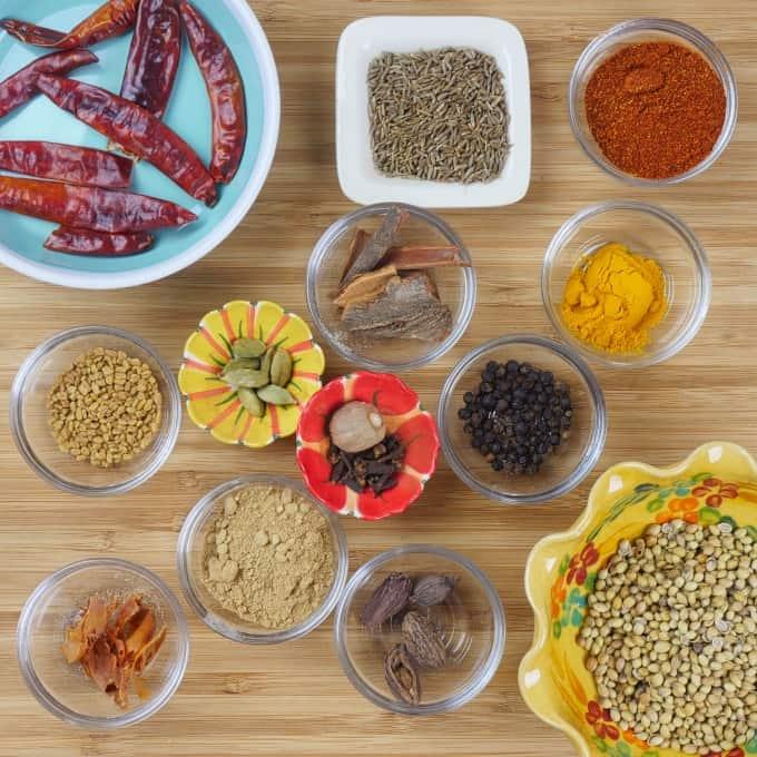 Tandoori Masala Recipe with all the spices gathered around