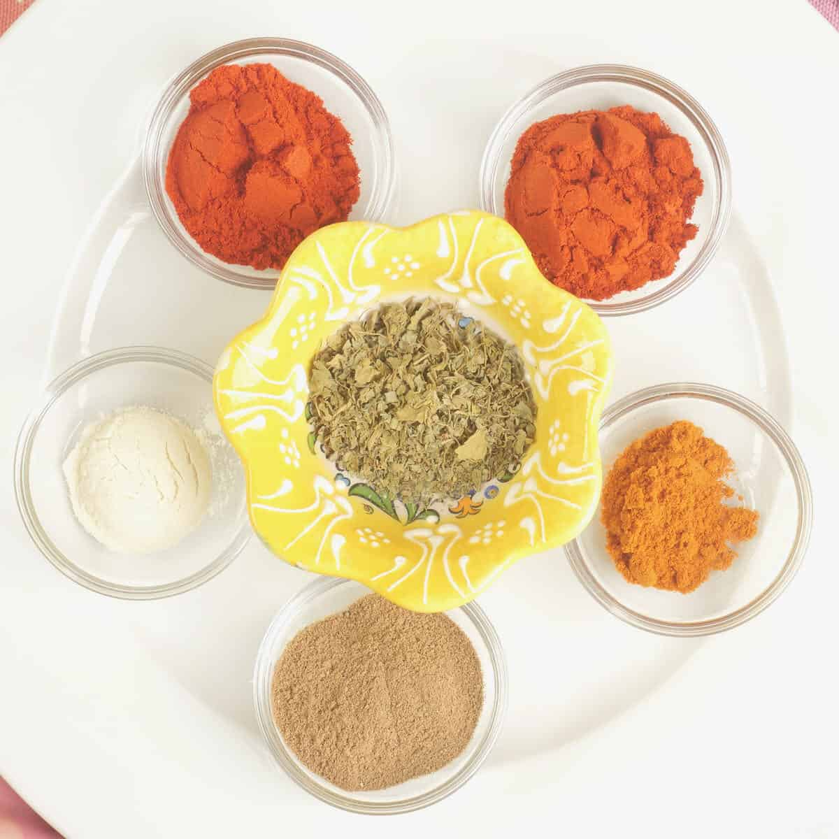 The ground spices used in the tandoori masala powder.