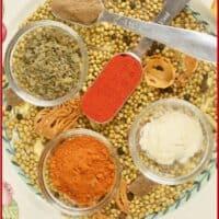 Tandoori masala powder on a bed of the individual spices.