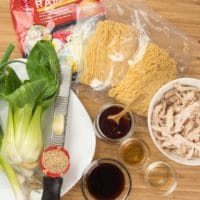20-Minute Sichuan Noodles Ingredients gathered.