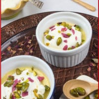 Sweet & Creamy Chai Pudding - Served with a cloud of whipped cream and a shower of pistachios and candied rose petals.