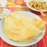 Make Indian Dosa Flatbreads three beautiful dosas side by side, ready for sambar or coconut chutney