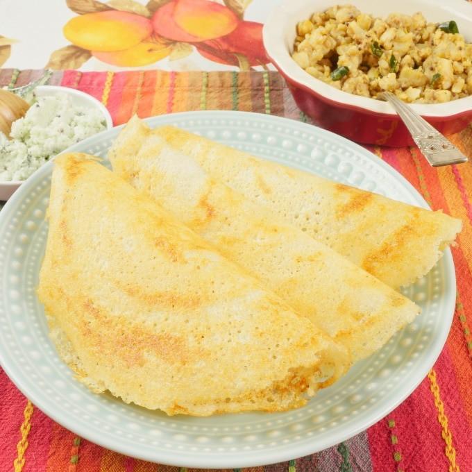 Make Indian Dosa Flatbreads three beautiful dosas side by side, ready for sambar or coconut chutney