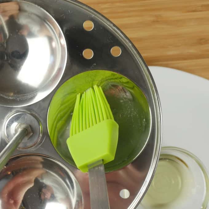 Homemade idli recipe, prepping the idli maker with oil
