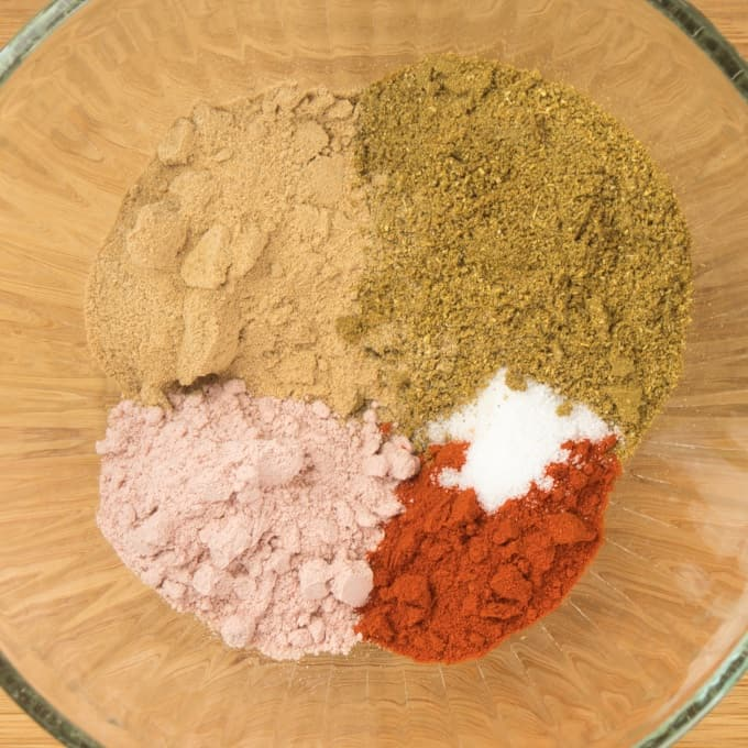 Chaat Masala Spice Mix the different sals and spices ready to be mixed together
