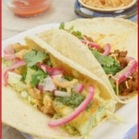 Delicious Indian-ish Tacos 2 ways with crispy paneer and keema, and Indian ground meat.