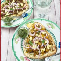 Naan Pizza Recipe with bright greenside of cilantro chutney