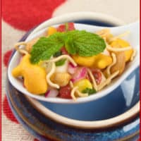 Chaat Recipe with Goldfish - Indian street dish with sev, veggies and goldfish crackers.