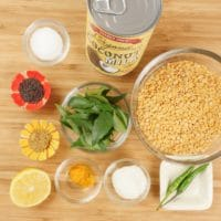 Coconut Lentil Curry (Kerala Parippu) all the ingredients gathered.