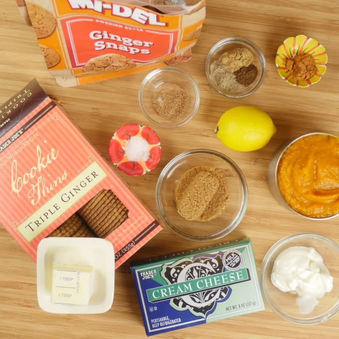 Cardamom Pumpkin Cheesecake (No-Bake) garnishes collected