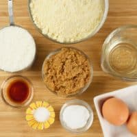 Chewy Coconut Almond Cookies (Gluten Free) cookie batter ingredients gathered.
