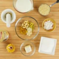 Indian Rice Pudding (Kerala Payasam) All the ingredients gathered