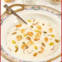 Indian Rice Pudding (Kerala Payasam) Beautifully garnised with nuts, raisins and saffron and ready to serve.