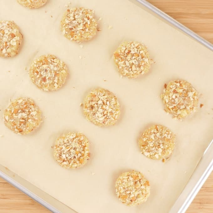 Paleo Coconut Almond Cookies (Gluten-Free) Cookies on a baking sheet ready for the oven.