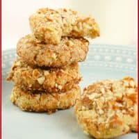 Paleo Coconut Almond Cookies (Gluten-Free) Stacking on a pretty green plate awaiting tea.